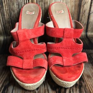 UGG Tawnie Suede Wedge Sandals Size 8